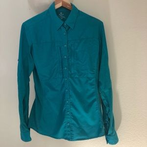 KUHL'S TEAL LONG SLEEVE HIKING SHIRT